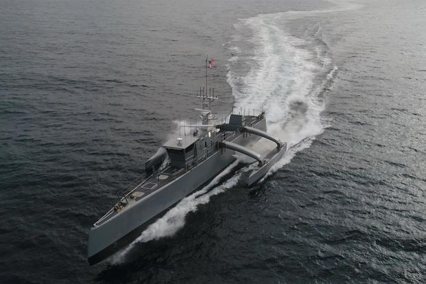 The unmanned prototype ship 'Sea Hunter' is part of the Anti-Submarine Warfare (ASW) Continuous Trail Unmanned Vessel (ACTUV) program. (U.S. Navy)
