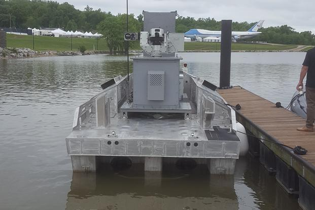 Navy's Unmanned Boat Now Features 50-Caliber Machine Gun