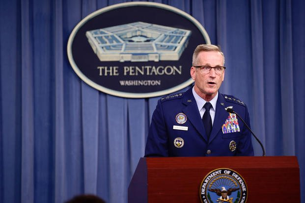 U.S. Air Force Gen. Terrence J. O'Shaughnessy, commander, United States Northern Command and North American Aerospace Defense Command, briefs the media and Department of Defense about Hurricane Michael at the Pentagon, Washington, D.C., Oct. 10, 2018. (DoD photo/Angelita M. Lawrence)
