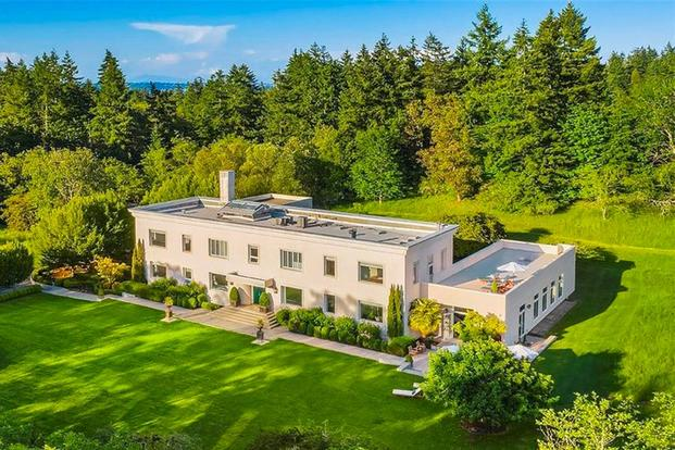The 12,018-square-foot mansion for sale on Bainbridge Island in Washington state was once the hub for a vital World War II mission. (Image courtesy Realtor.com)