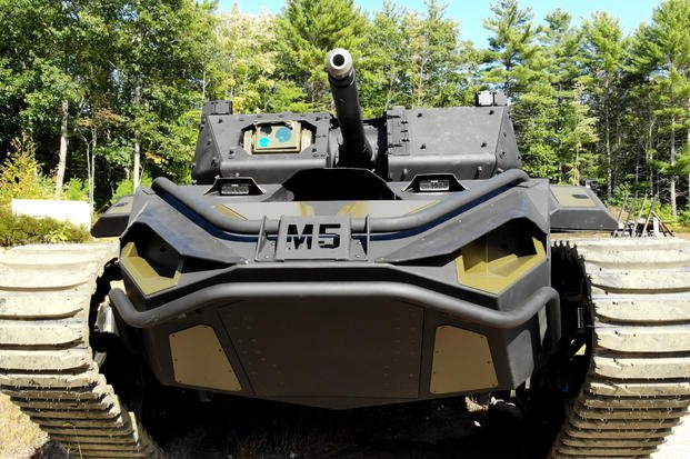A team made up of Textron Systems, Howe & Howe and FLIR Systems, Inc. is debuting the new Ripsaw M5 unmanned vehicle it intends to offer for the U.S. Army's Robotic Combat Vehicle effort at the 2019 Association of the United States Army's annual meeting. (Courtesy Textron)