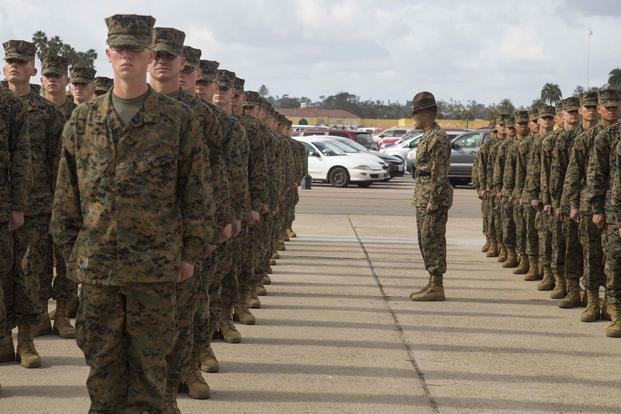 Marines stand in formation during liberty call at Marine Corps Recruit Depot San Diego