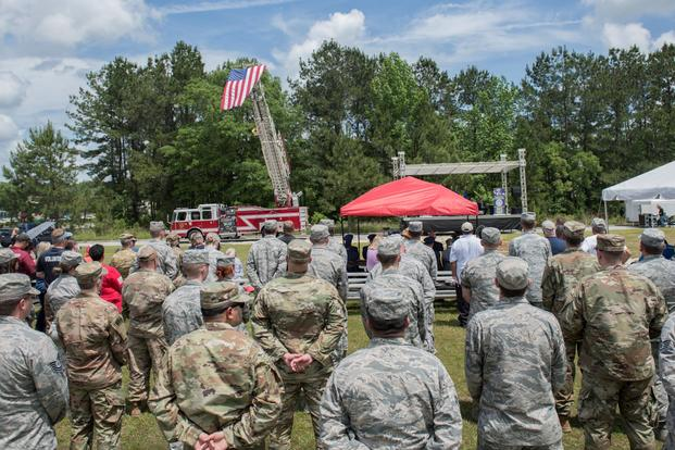 Airmen from around the Air Force gathered during a ceremony May 2, 2019, in Port Wentworth, Georgia, to memorialize the fatal crash of a C-130 Hercules one year ago.