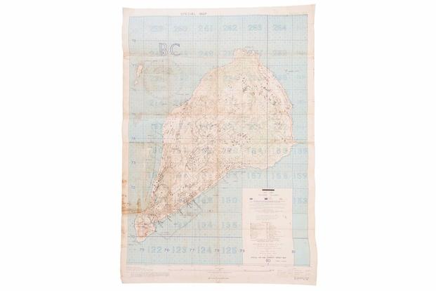 "Rock Island Auction Company will auction ""Special Air and Gunnery Target Map"" of Iwo Jima."