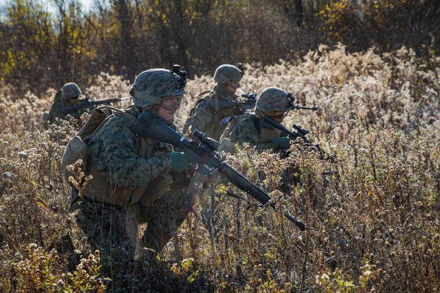 Marines move through brush Fort Drum