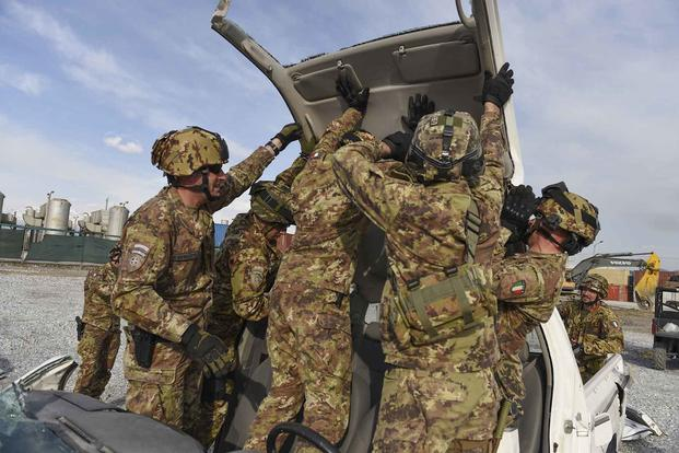 Italian soldiers at Bagram Air Field, Afghanistan.