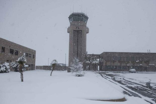 Laughlin Air Force Base after being dusted with a winter snow.