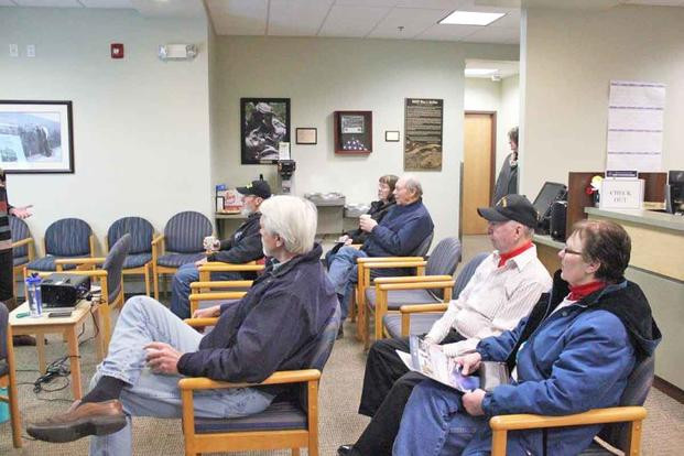 Veterans gather at an community based outpatient clinic.