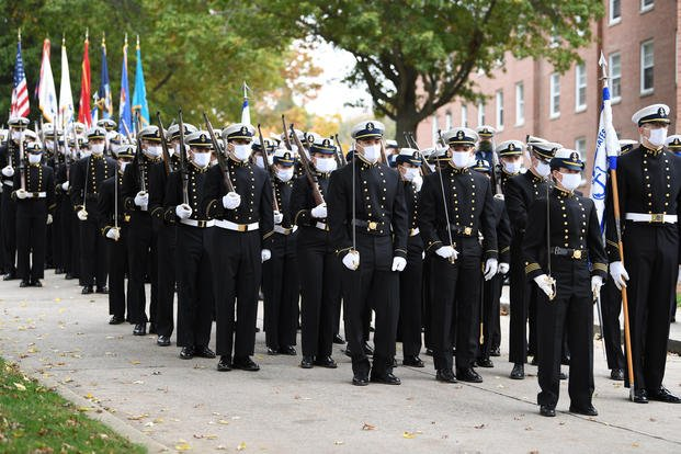 U.S. Coast Guard Academy cadets conduct a regimental review