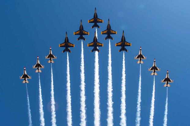 "The Thunderbirds and the Blue Angels debut flight formation ""Super Delta."""