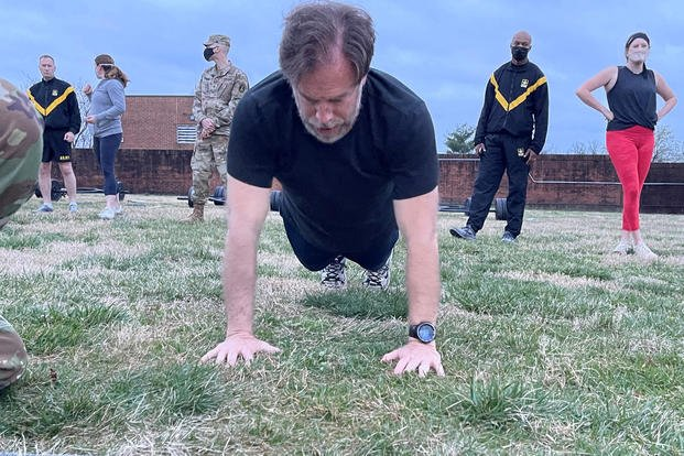 Matthew Cox took the Army's new combat fitness test (ACFT) at Ft. Myer, Virginia, Friday morning. (Steven Beynon/Military.com)