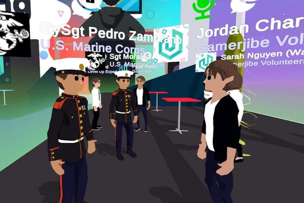 Marines interact with other attendees during the Gamerjibe virtual career fair