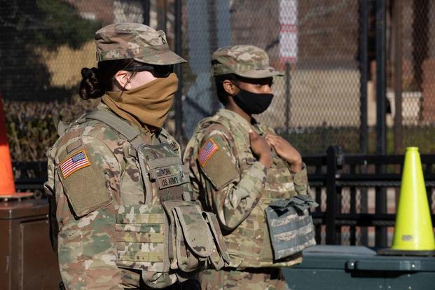 Pennsylvania National Guard members stand watch near the U.S. Capitol.