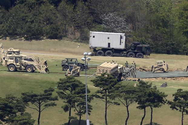 The U.S. has set up a THAAD battery on a former golf course in South Korea. Army photo