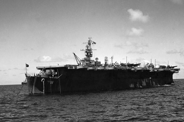 In this July 1946 file photo is the USS Independence near Bikini Atoll. Scientists have rediscovered a mostly intact World War II aircraft carrier the U.S. Navy scuttled off the Northern California coast decades ago. (AP Photo/Clarence Hamm, File)
