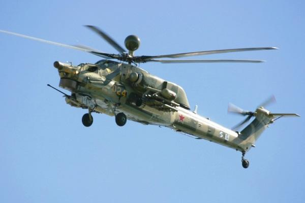 A Russian Mi-28 attack helicopter, like the one shown here, crashed Aug. 2 during an airshow about 100 miles southeast of Moscow, killing one of its crewmembers and injuring another. (Photo Russian Helicopters)