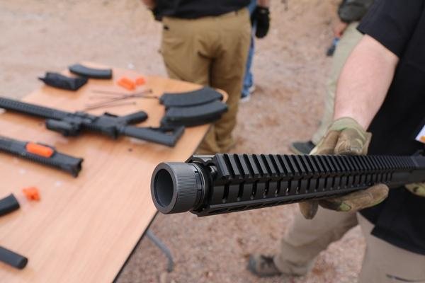 CMMG Inc. updated its Mk47 Mutant line that blends AR15 and AK47 designs with shorter barrels and a new Krink muzzle device designed to reduce recoil and redirect blast. (Photo by Brendan McGarry/Military.com)
