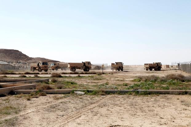 The Iraqi 7th Army Division drive their newly acquired light medium tactical vehicles at Al Asad Air Base, Iraq, on Feb. 13, 2016. (Photo by Sgt. Joshua E. Powell/U.S. Army)