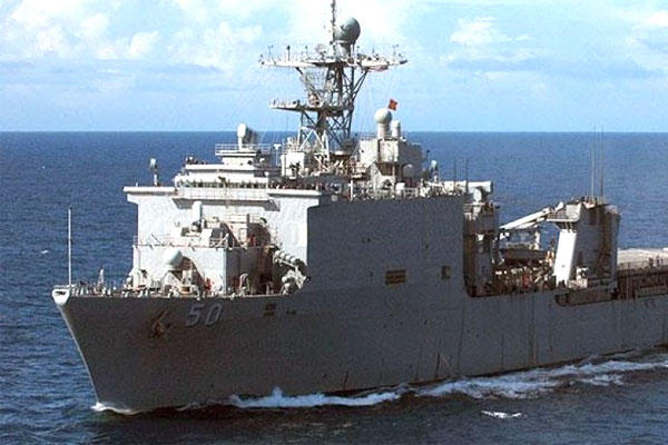 The Navy's dock landing ship USS Carter Hall. One of its crew has been missing since Saturday. (US Navy photo)
