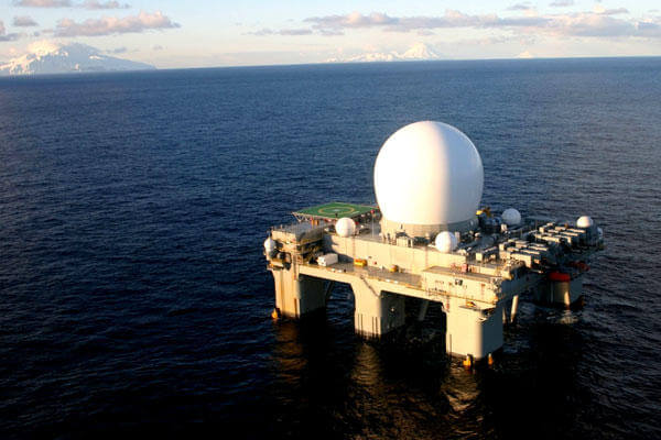 The Sea-Based X-Band (SBX) Radar acquires, tracks and discriminates the flight characteristics of ballistic missiles. (DoD photo)