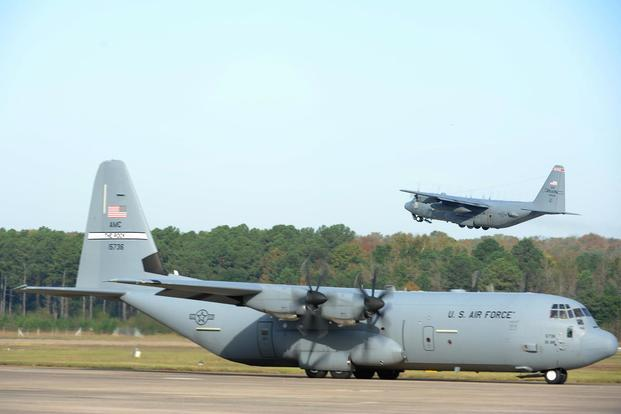 A C-130J Super Hercules taxis on the flightline as part of an 11-ship C-130J formation Oct. 24, 2016, at Little Rock Air Force Base, Arkansas. Airman Grace Nichols/Air Force