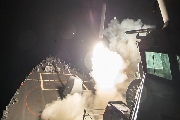 The U.S. Navy launched a total of 59 Tomahawk cruise missiles against a Syrian airfield around 4:40 a.m. April 7 (local time) in response to the Syrian government's chemical weapons attack against civilians. (U.S. Defense Department photo)