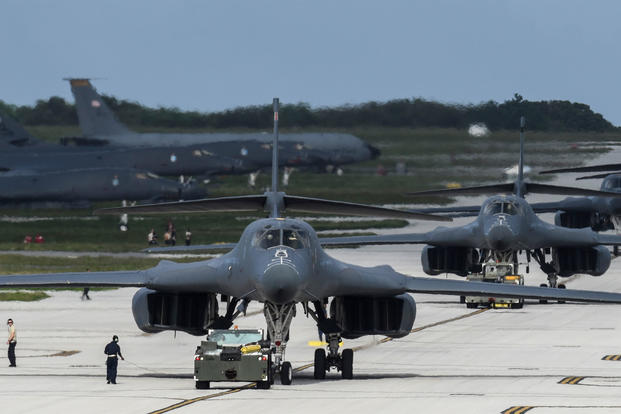 B-1B Lancer bombers assigned to the 9th Expeditionary Bomb Squadron arrive at Andersen Air Force Base in Guam on Feb. 6. (US Air Force photo/Richard P. Ebensberger)