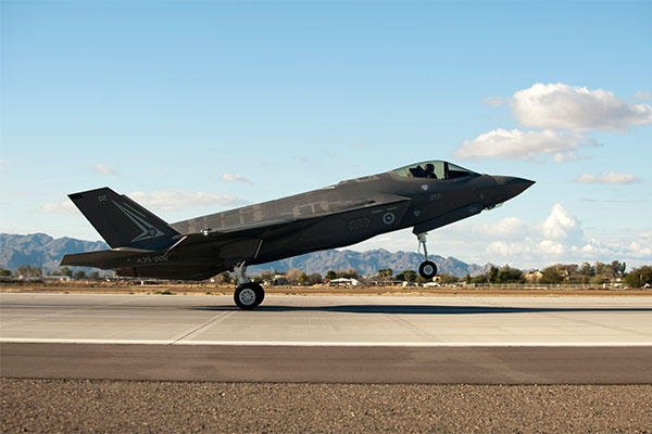 The first Royal Australian air force F-35A Lightning II jet 's arrival at Luke AFB marks the first international partner F-35 to land. (U.S. Air Force photo/Staff Sgt. Staci Miller)
