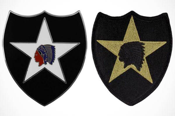 Two examples of the 2nd Infantry Division's Indianhead patch.