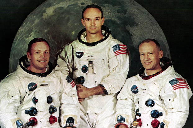 The crew of Apollo 11: Commander Neil A. Armstrong, 38, Command Module Pilot Michael Collins, 38, and Lunar Module Pilot Edwin E. Aldrin, Jr., 39. Photograph taken May 1, 1969. (NASA photo)