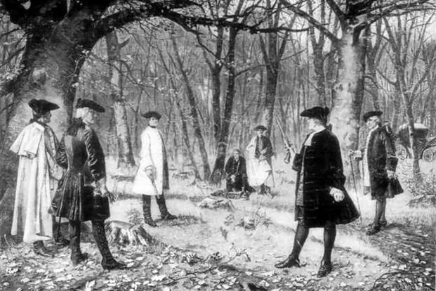 Duel between Alexander Hamilton and Aaron Burr. After the painting by J. Mund.