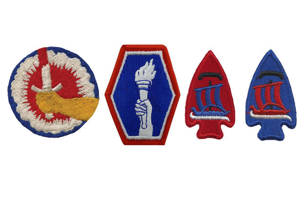 Left to right: 442nd Regimental Combat Team, first and second pattern patches. 74th Regimental Combat Team, correct patch in (2nd from right) and error (right).