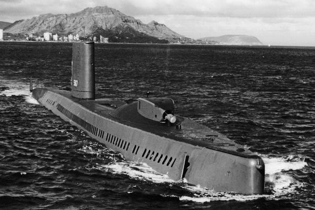 The Regulus guided missile submarine, USS Halibut (SSN 587) which carried out Operation Ivy Bells. (U.S. Navy photo)