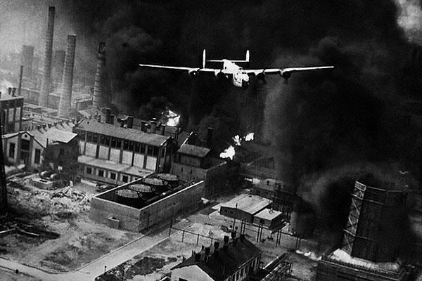 A B-24 conducting a raid on the oil refineries at Ploesti, Romania. Of the 177 bombers that left, only 33 returned in flyable condition. (National Archives)