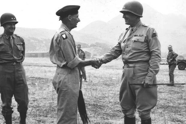 Gen. Bernard Law Montgomery is bid a jolly farewell by Lt. Gen. George S. Patton, Jr., at the Palermo, Sicily airport after a visit by Gen. Montgomery. (28 Jul 43)
