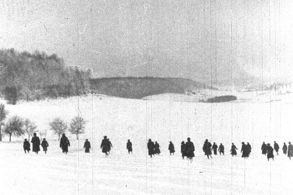 The 103d Infantry arrived in France with the 26th Division in October 1917 and began training under French instructors near the town of Neufchateau, where the New England doughboys endured a harsh winter. (Photo: Maine National Guard Archives)