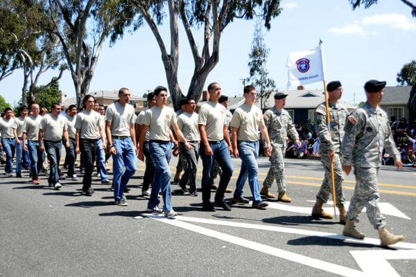 Recruits march in a San Gabriel Valley parade.