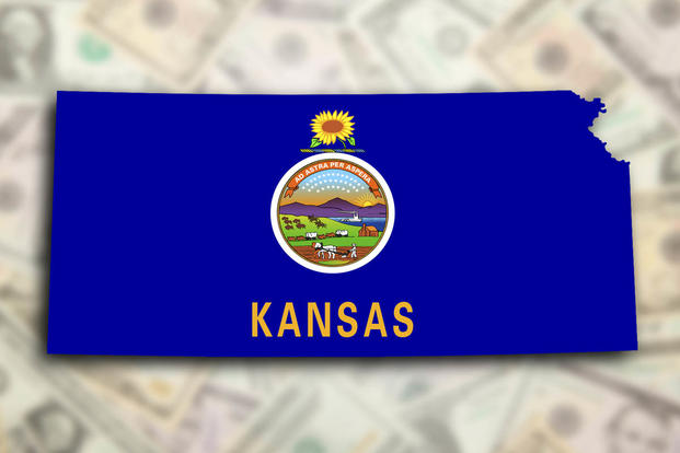 Kansas Map WIth Flag Design