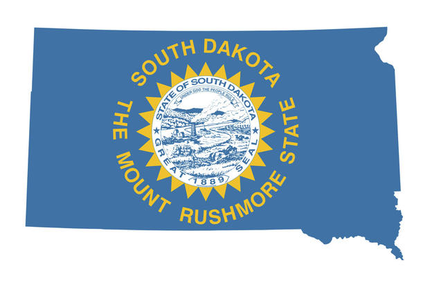 South Dakota Map and Flag