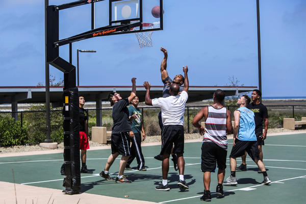 11th MEU Marines play basketball.