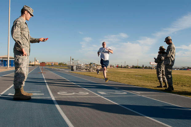 A service member finishes the run portion of his Air Force physical fitness test Nov. 12 at Luke Air Force Base. (U.S. Air Force photo/Staff Sgt. Staci Miller)