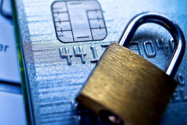 Cyber security image with credit card and lock
