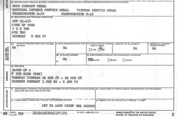 DD-214 sample form