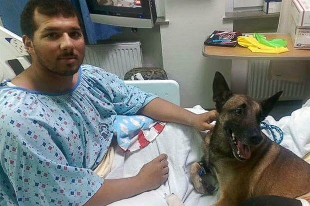 Spc. Andrew Brown and Rocky at the military hospital in Germany are expected to recover from their injuries. 89th Military Police Brigade via Facebook