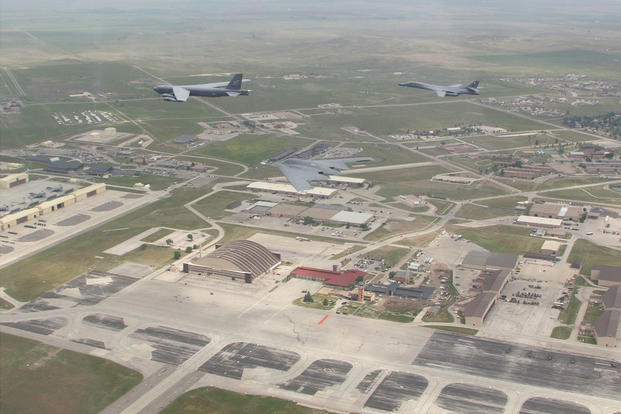 A B-1, a B-2 and a B-52 fly in formation over Ellsworth Air Force Base. (U.S. Air Force/Tech. Sgt. Marc Feliz)