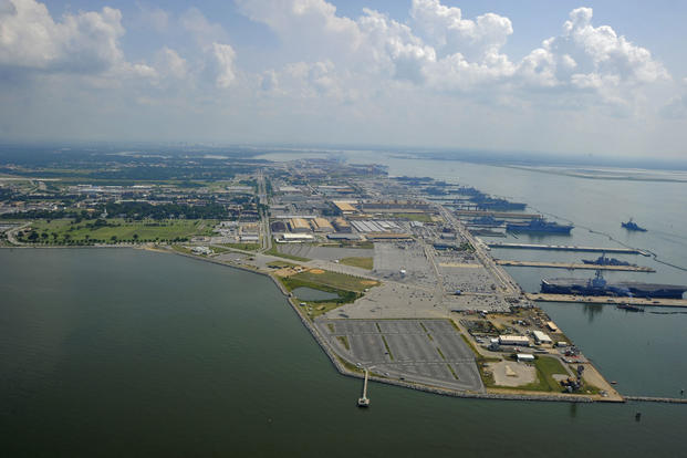 An aerial view of Norfolk Naval Station (U.S. Navy photo/Petty Officer 2nd Class Christopher Stoltz)