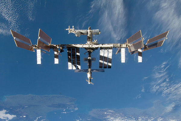 The International Space Station above Earth. NASA photo
