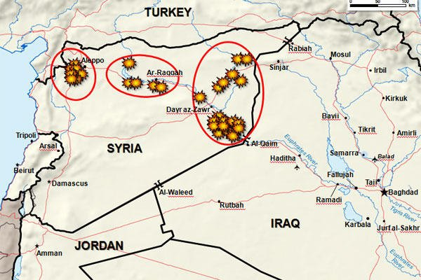 Map provided by the Pentagon of September 23, 2014 airstikes against ISIL in Syria and Iraq.