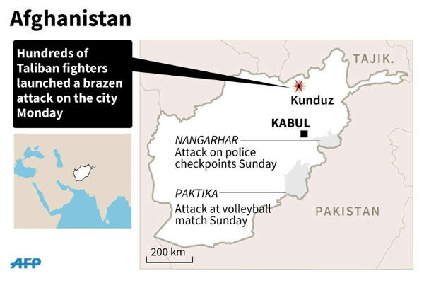 Map of Afghanistan locating recent attacks and the siege on the northern city of Kunduz /AFP