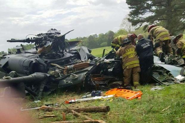 A U.S. Army UH-60 Black Hawk helicopter crashed around 1:50 p.m. April 17 at the Breton Bay Golf Course and Country Club in Leonardtown in Maryland. (TheBayNet.com photo)